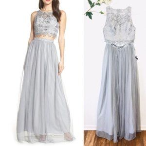 NWT Sequin Hearts 2 piece Formal Gown Gray Dress